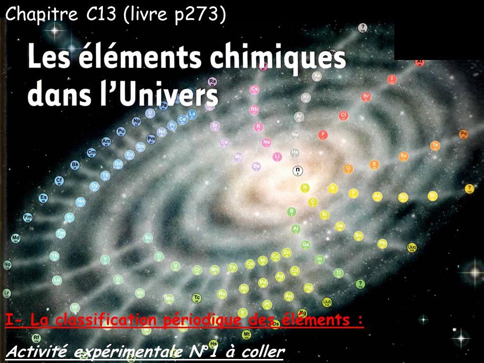 Chapitre C13 (livre p273) Activité expérimentale N°1 à coller I- La classification périodique des éléments :