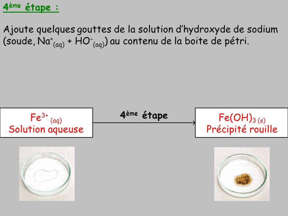 4 ème étape 4 ème étape : Ajoute quelques gouttes de la solution dhydroxyde de sodium (soude, Na + (aq) + HO - (aq) ) au contenu de la boite de pétri.