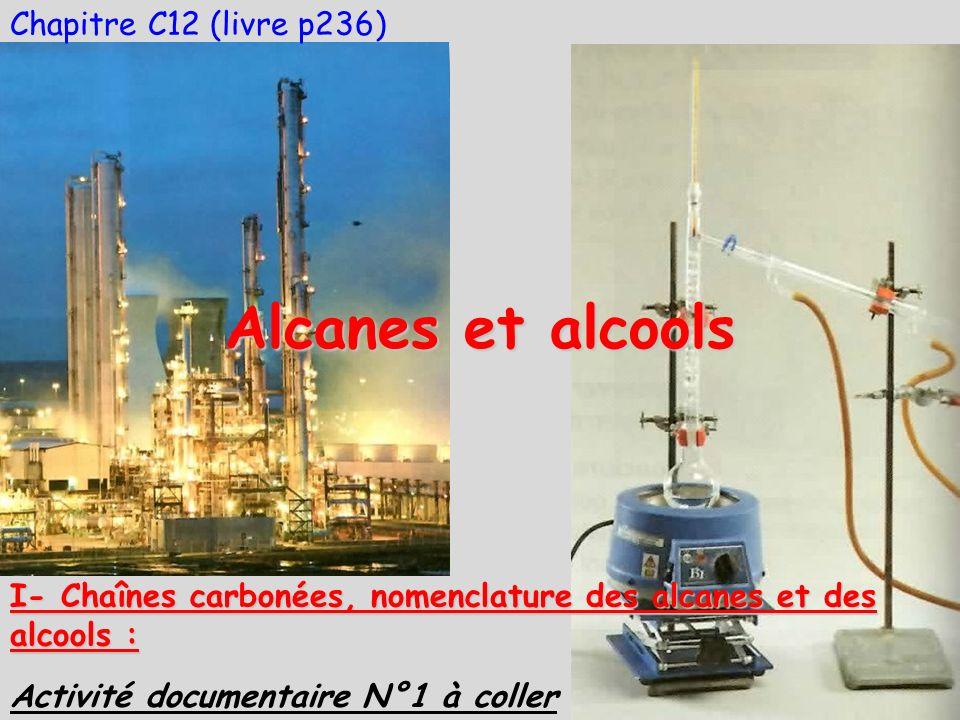 Chapitre C12 (livre p236) Alcanes et alcools Activité documentaire N°1 à coller I- Chaînes carbonées, nomenclature des alcanes et des alcools :