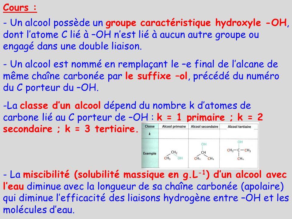 Cours : - Un alcool possède un groupe caractéristique hydroxyle -OH, dont latome C lié à –OH nest lié à aucun autre groupe ou engagé dans une double l