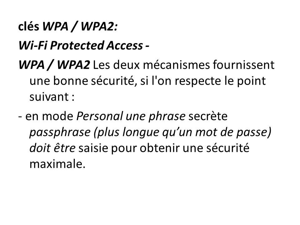 clés WPA / WPA2: Wi-Fi Protected Access - WPA / WPA2 Les deux mécanismes fournissent une bonne sécurité, si l'on respecte le point suivant : - en mode
