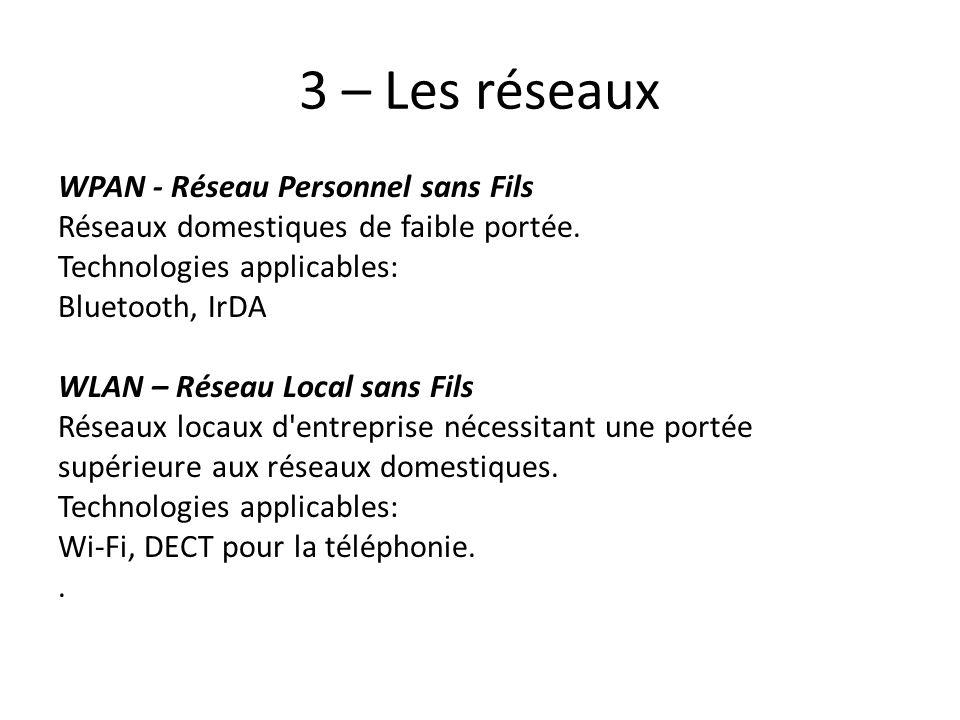 3 – Les réseaux WPAN - Réseau Personnel sans Fils Réseaux domestiques de faible portée. Technologies applicables: Bluetooth, IrDA WLAN – Réseau Local