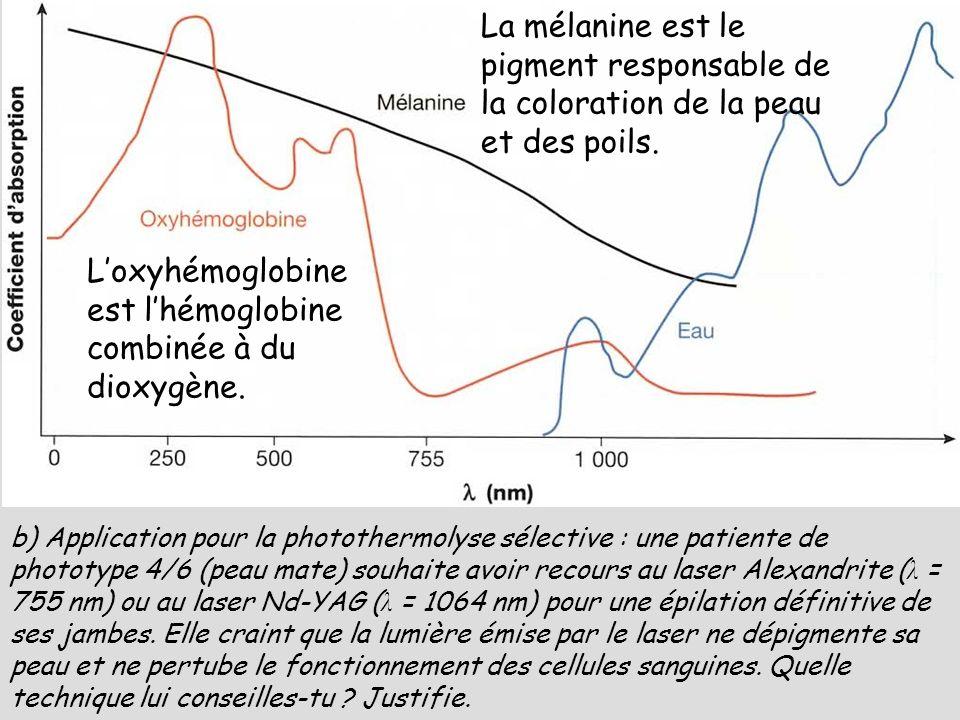 Loxyhémoglobine est lhémoglobine combinée à du dioxygène. La mélanine est le pigment responsable de la coloration de la peau et des poils. b) Applicat