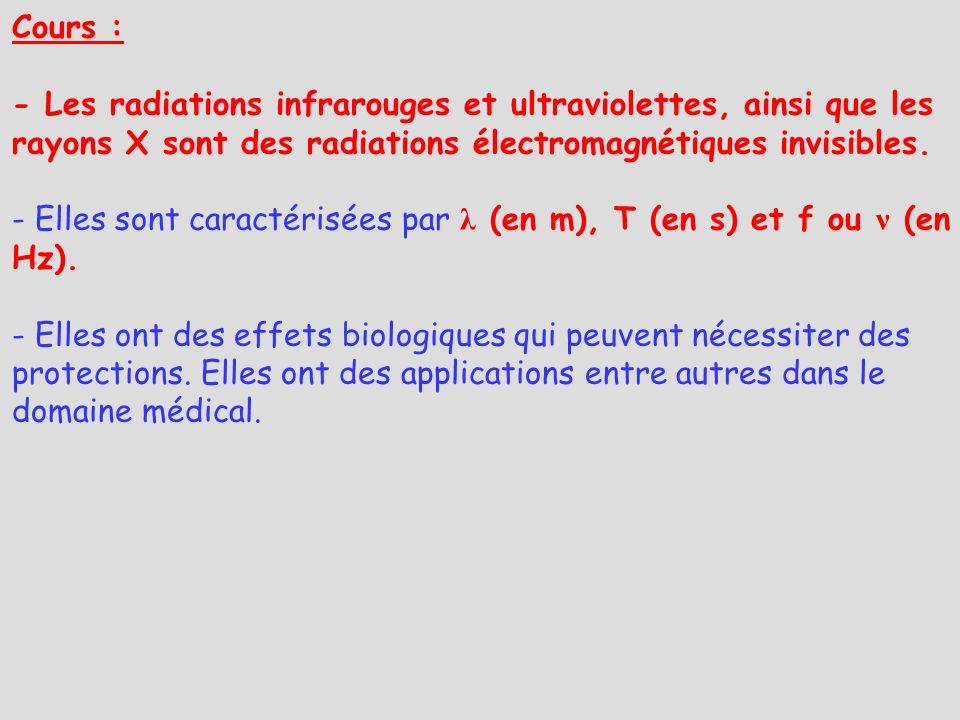 Cours : - Les radiations infrarouges et ultraviolettes, ainsi que les rayons X sont des radiations électromagnétiques invisibles. - Elles sont caracté