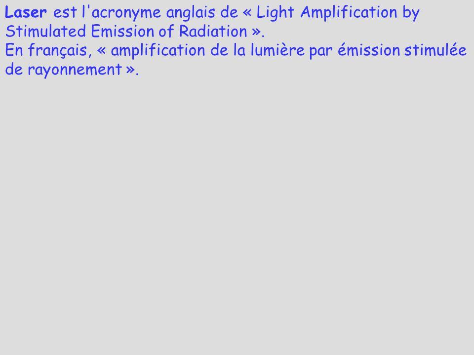 Laser est l'acronyme anglais de « Light Amplification by Stimulated Emission of Radiation ». En français, « amplification de la lumière par émission s