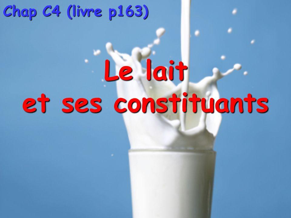 Chap C4 (livre p163) Le lait et ses constituants