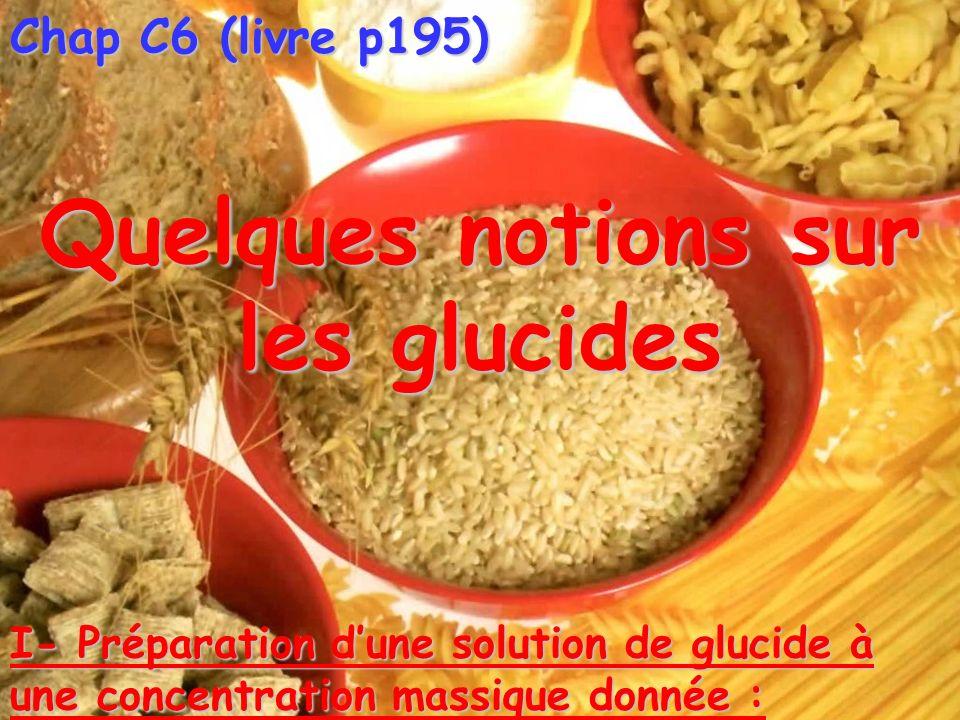 Chap C6 (livre p195) Quelques notions sur les glucides I- Préparation dune solution de glucide à une concentration massique donnée :