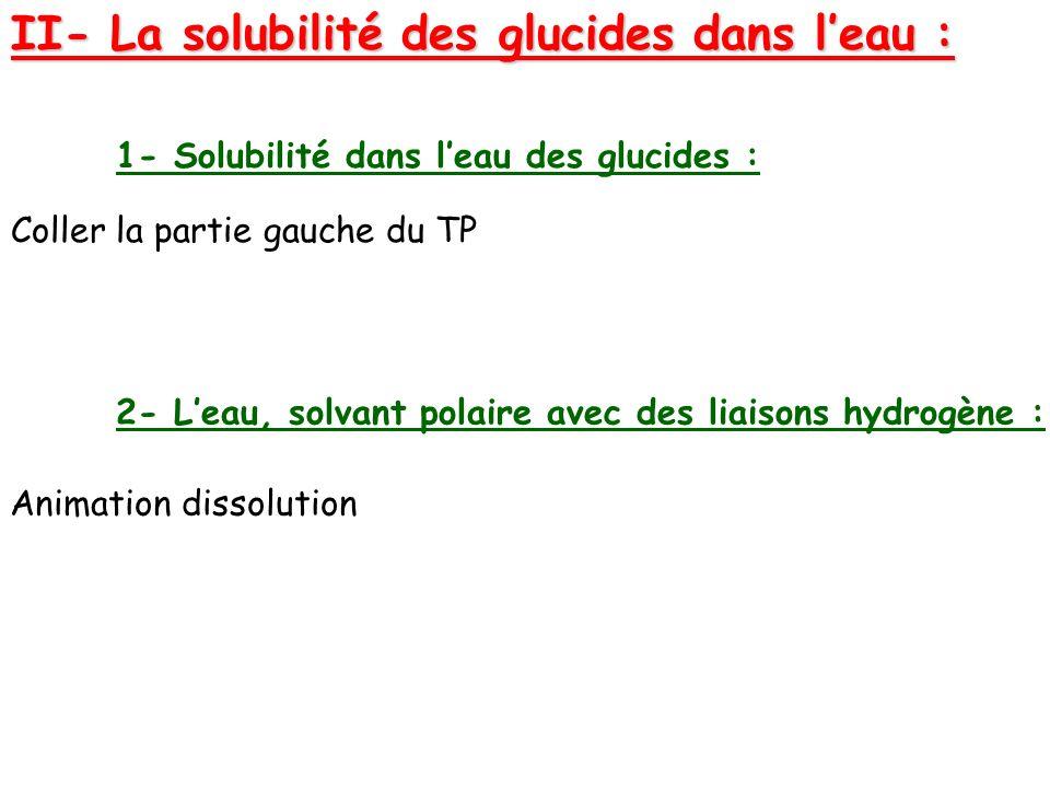 II- La solubilité des glucides dans leau : 1- Solubilité dans leau des glucides : 2- Leau, solvant polaire avec des liaisons hydrogène : Coller la par