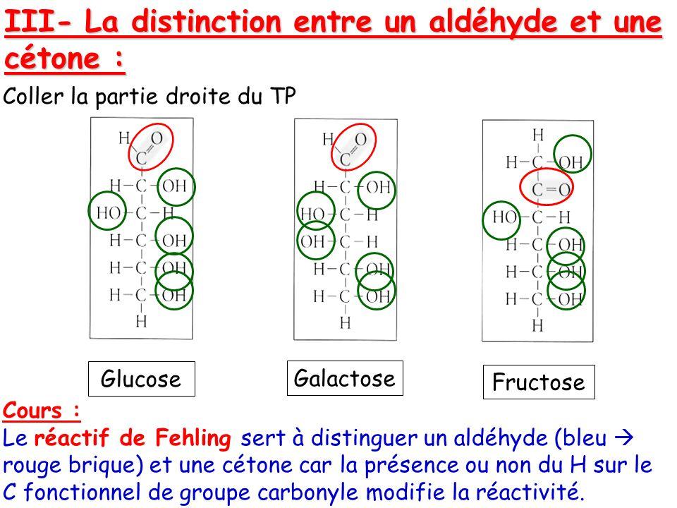 III- La distinction entre un aldéhyde et une cétone : Coller la partie droite du TP Cours : Le réactif de Fehling sert à distinguer un aldéhyde (bleu