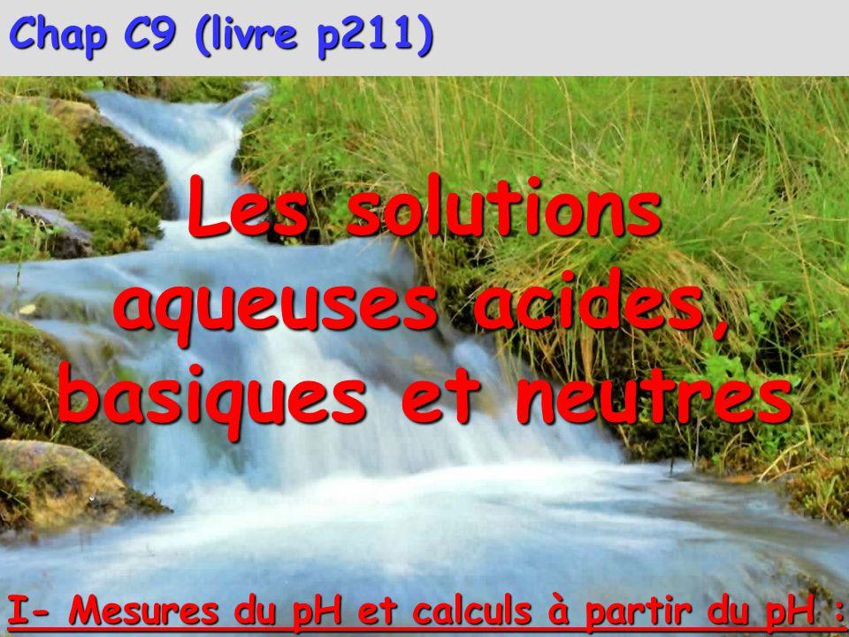 Chap C9 (livre p211) Les solutions aqueuses acides, basiques et neutres I- Mesures du pH et calculs à partir du pH :