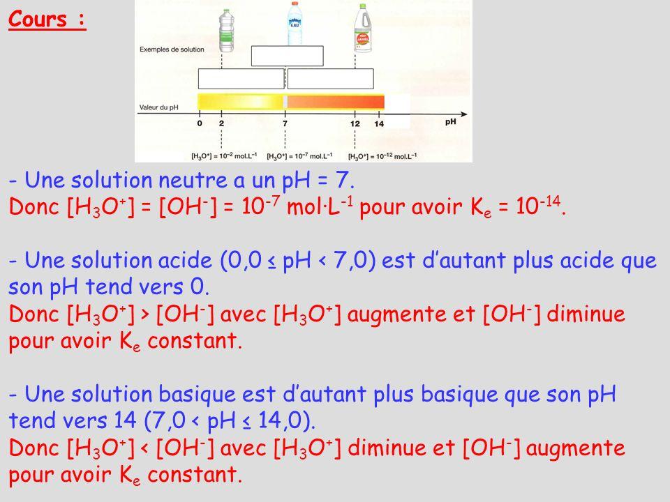 Cours : - Une solution neutre a un pH = 7. Donc [H 3 O + ] = [OH - ] = 10 -7 mol·L -1 pour avoir K e = 10 -14. - Une solution acide (0,0 pH < 7,0) est