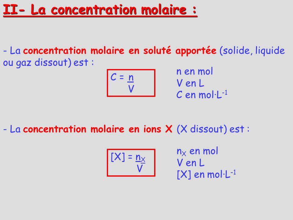 II- La concentration molaire : - La concentration molaire en soluté apportée (solide, liquide ou gaz dissout) est : - La concentration molaire en ions