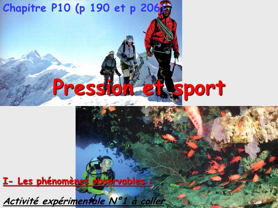 Pression et sport Chapitre P10 (p 190 et p 206) I- Les phénomènes observables : Activité expérimentale N°1 à coller