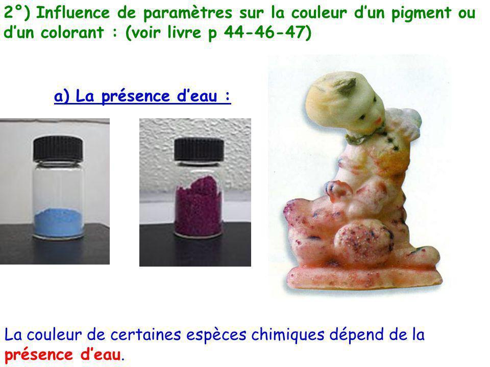 2°) Influence de paramètres sur la couleur dun pigment ou dun colorant : (voir livre p 44-46-47) a) La présence deau : La couleur de certaines espèces