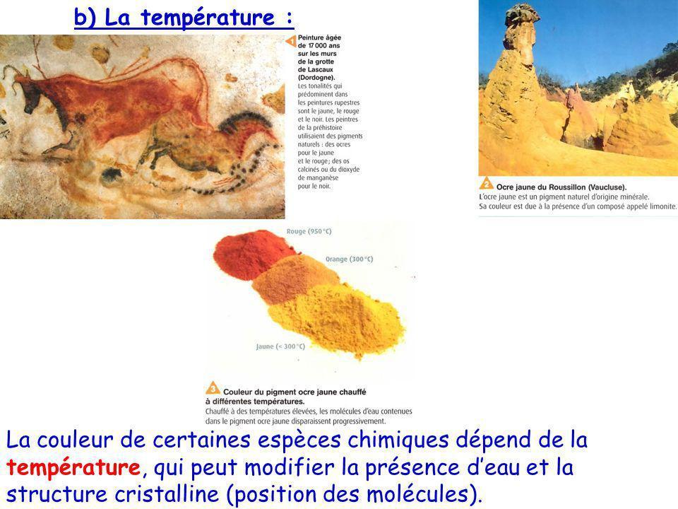b) La température : La couleur de certaines espèces chimiques dépend de la température, qui peut modifier la présence deau et la structure cristalline