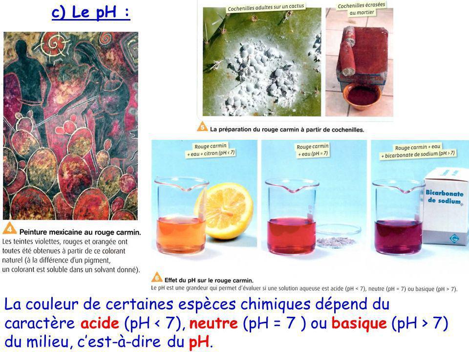 c) Le pH : La couleur de certaines espèces chimiques dépend du caractère acide (pH 7) du milieu, cest-à-dire du pH.