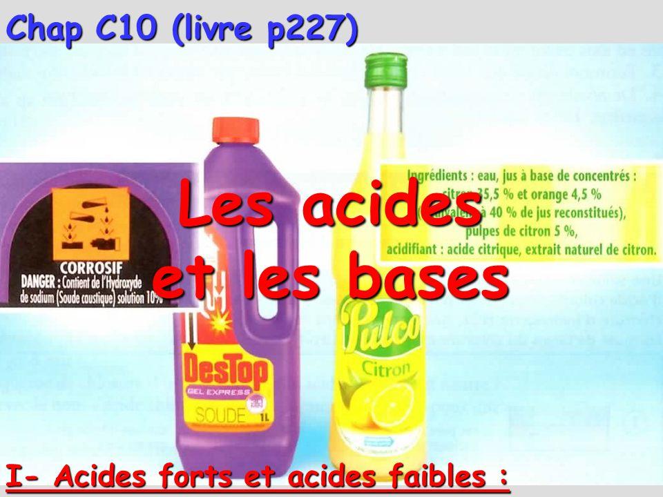 Chap C10 (livre p227) Les acides et les bases I- Acides forts et acides faibles :