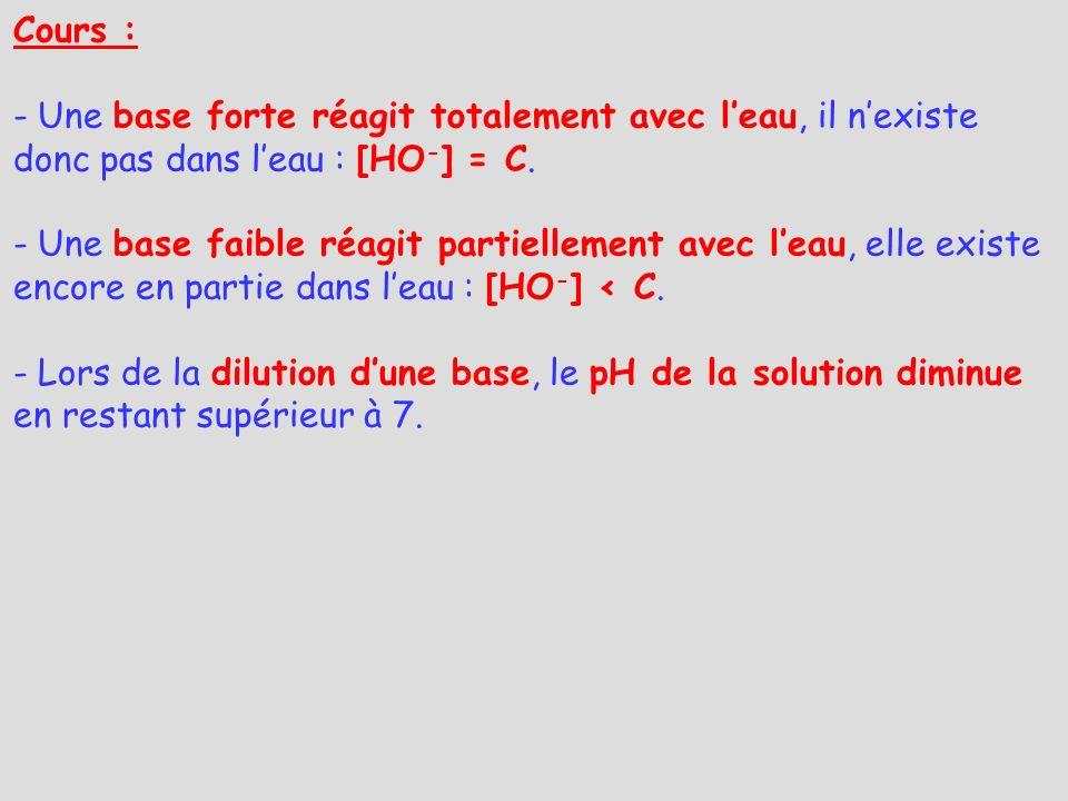 Cours : - Une base forte réagit totalement avec leau, il nexiste donc pas dans leau : [HO - ] = C. - Une base faible réagit partiellement avec leau, e