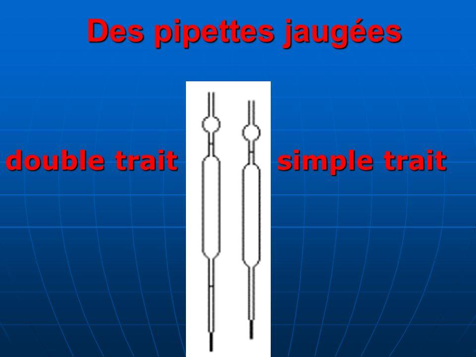 Des pipettes jaugées double trait simple trait