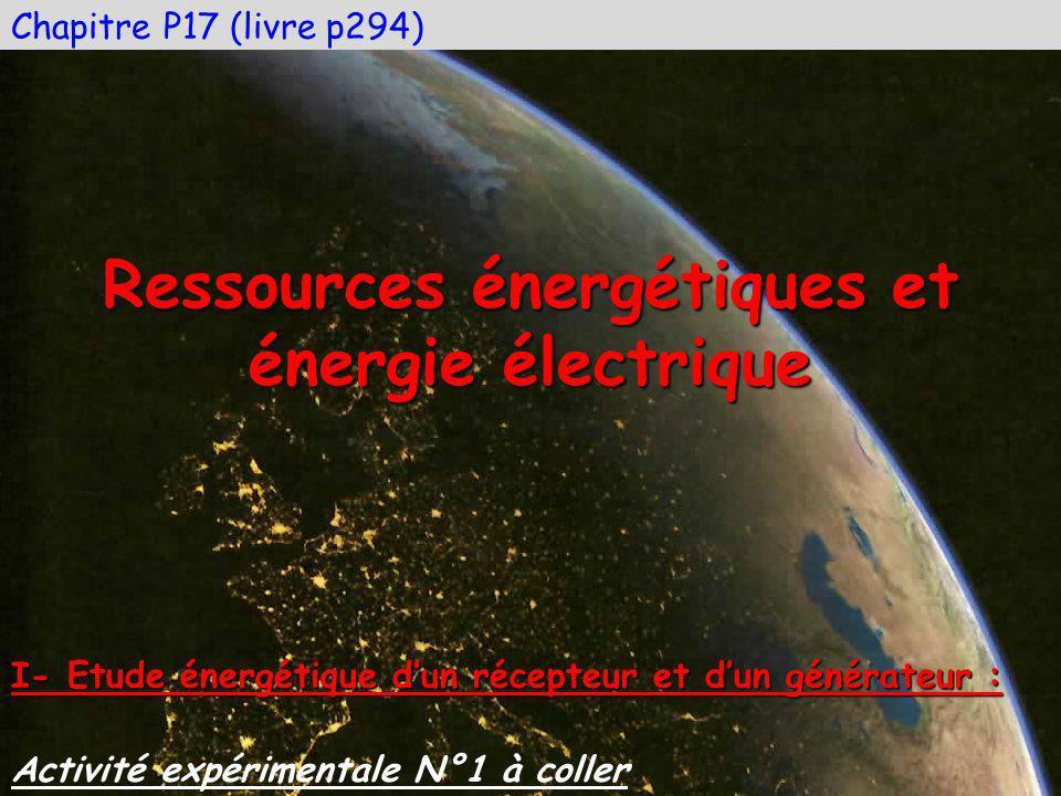 Chapitre P17 (livre p294) Ressources énergétiques et énergie électrique Activité expérimentale N°1 à coller I- Etude énergétique dun récepteur et dun