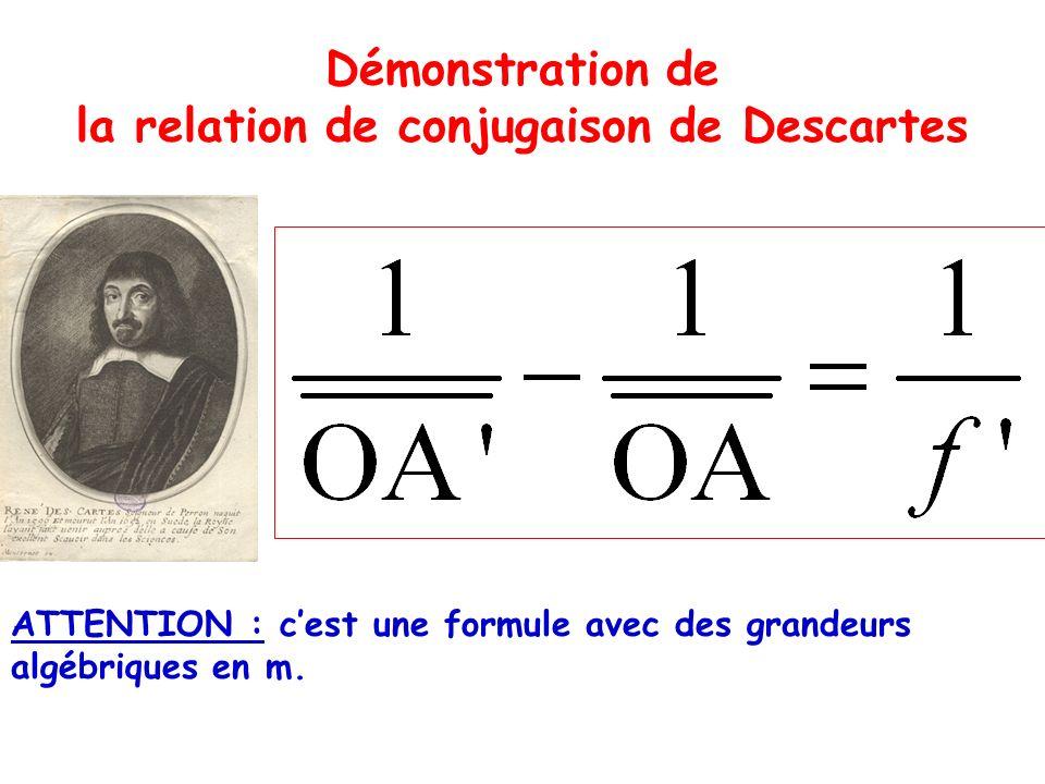 Démonstration de la relation de conjugaison de Descartes ATTENTION : cest une formule avec des grandeurs algébriques en m.