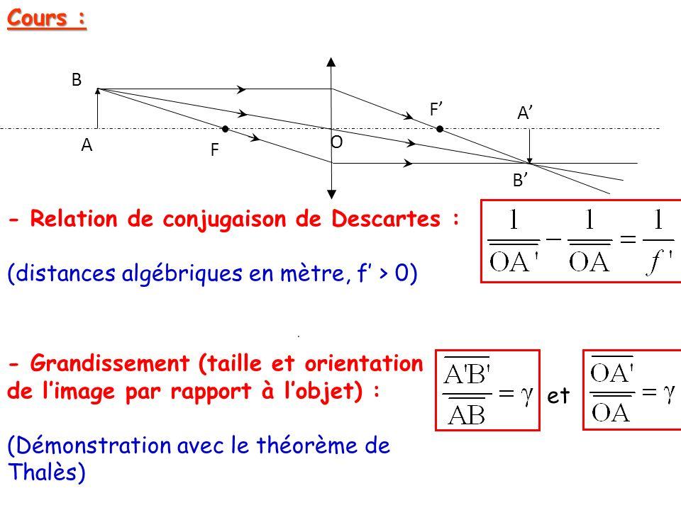 Cours : O F F A B A B - Relation de conjugaison de Descartes : (distances algébriques en mètre, f > 0). - Grandissement (taille et orientation de lima
