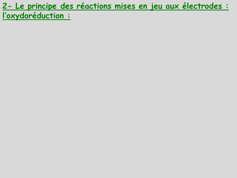 2- Le principe des réactions mises en jeu aux électrodes : loxydoréduction :