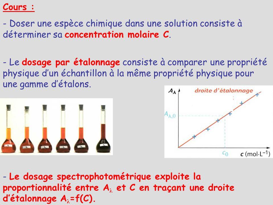 Cours : - Le dosage par étalonnage consiste à comparer une propriété physique dun échantillon à la même propriété physique pour une gamme détalons. -