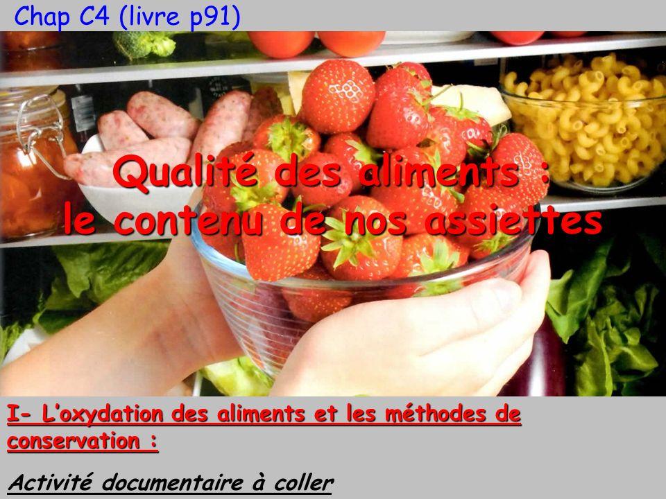 Qualité des aliments : le contenu de nos assiettes I- Loxydation des aliments et les méthodes de conservation : Activité documentaire à coller Chap C4
