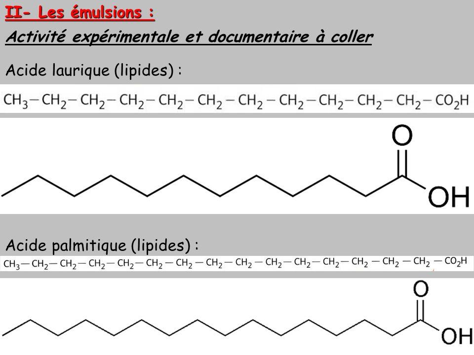 II- Les émulsions : Activité expérimentale et documentaire à coller Acide laurique (lipides) : Acide palmitique (lipides) :