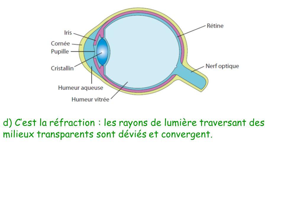 d) Cest la réfraction : les rayons de lumière traversant des milieux transparents sont déviés et convergent.