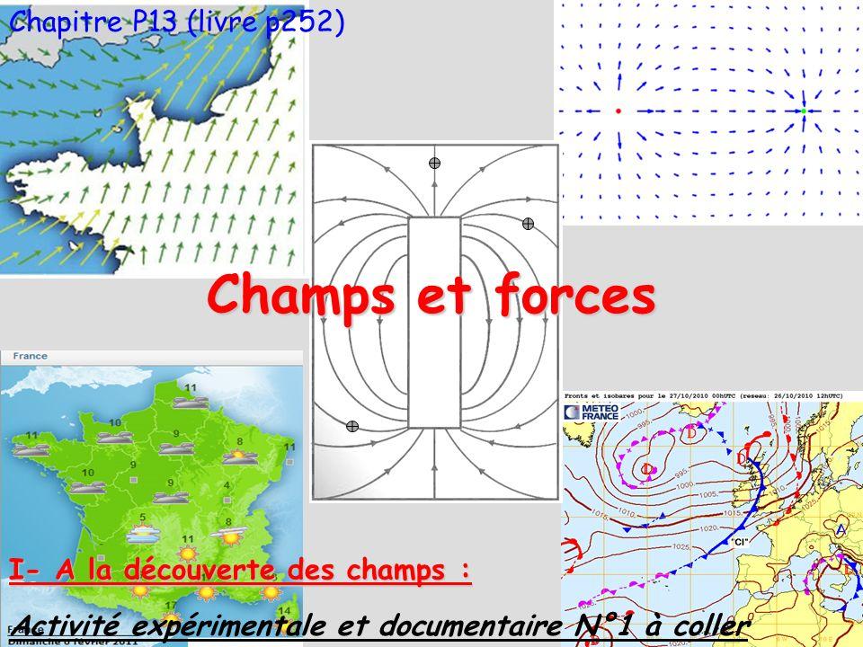 Chapitre P13 (livre p252) Champs et forces I- A la découverte des champs : Activité expérimentale et documentaire N°1 à coller