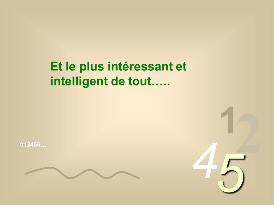 013456… 1 2 4 5 Et le plus intéressant et intelligent de tout…..