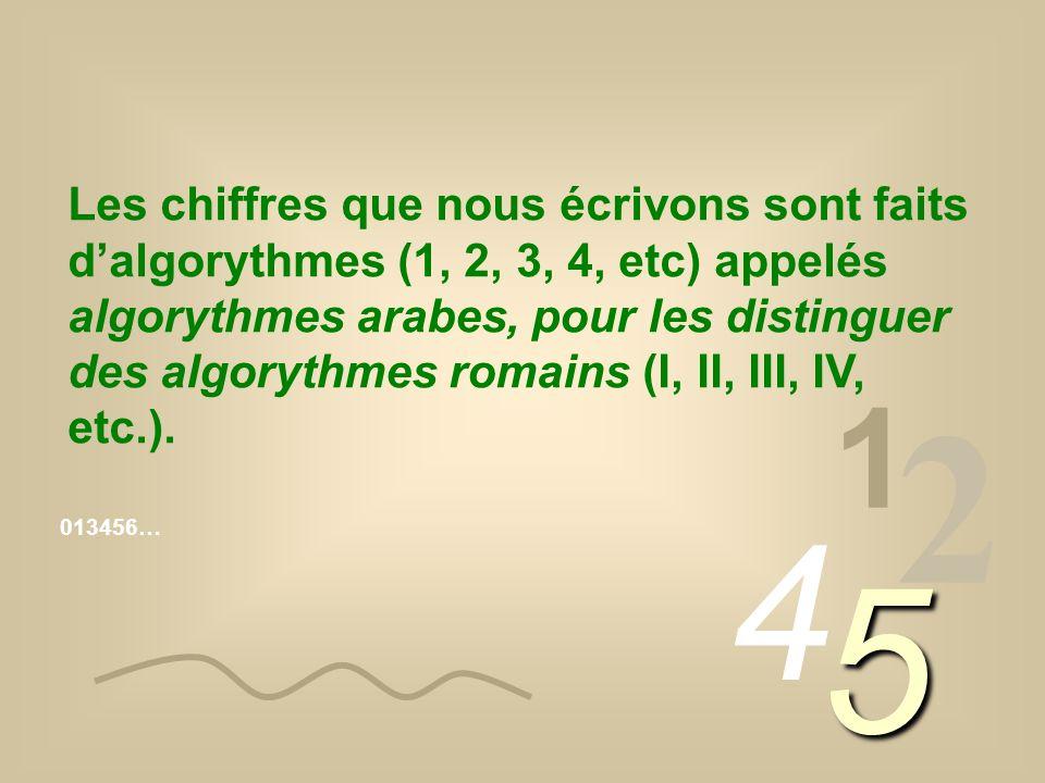 Les chiffres que nous écrivons sont faits dalgorythmes (1, 2, 3, 4, etc) appelés algorythmes arabes, pour les distinguer des algorythmes romains (I, I