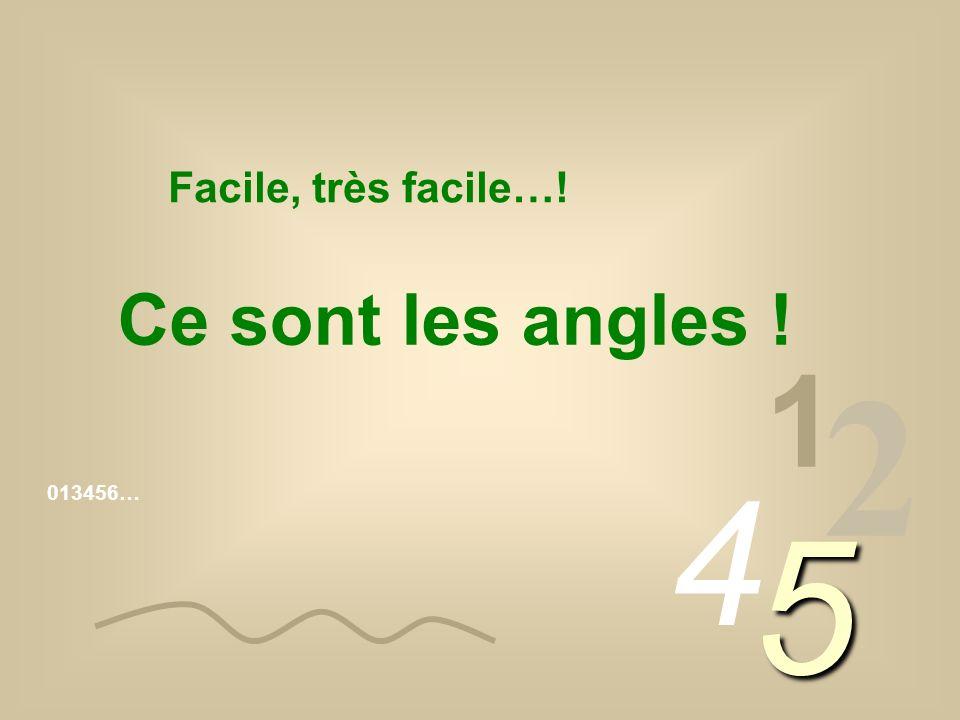 013456… 1 2 4 5 Facile, très facile…! Ce sont les angles !