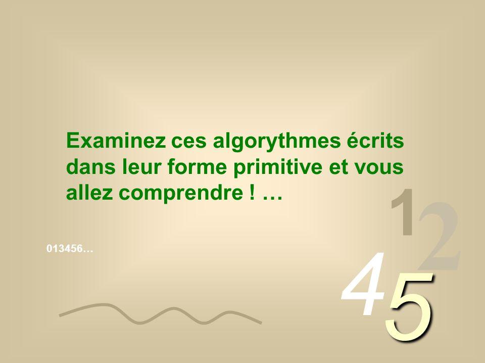 013456… 1 2 4 5 Examinez ces algorythmes écrits dans leur forme primitive et vous allez comprendre ! …