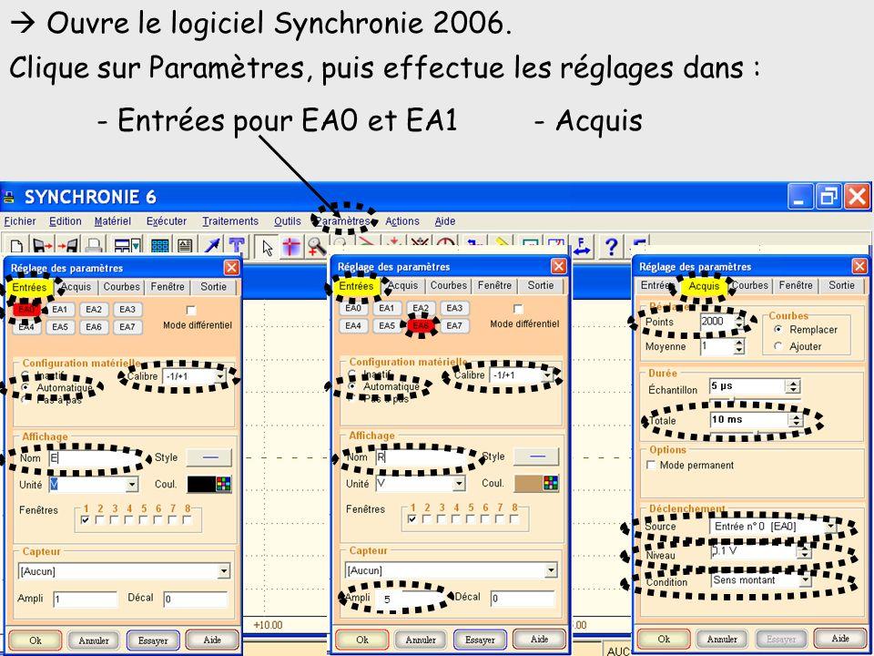 Ouvre le logiciel Synchronie 2006. Clique sur Paramètres, puis effectue les réglages dans : - Entrées pour EA0 et EA1- Acquis 5