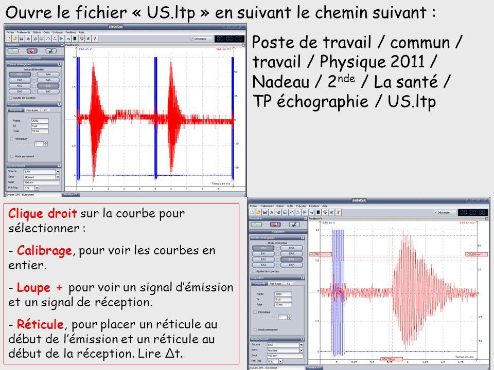 Ouvre le fichier « US.ltp » en suivant le chemin suivant : Poste de travail / commun / travail / Physique 2011 / Nadeau / 2 nde / La santé / TP échogr