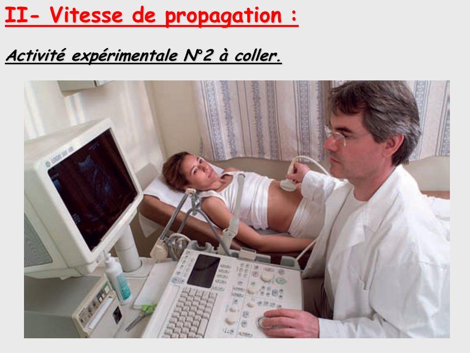 II- Vitesse de propagation : Activité expérimentale N°2 à coller.