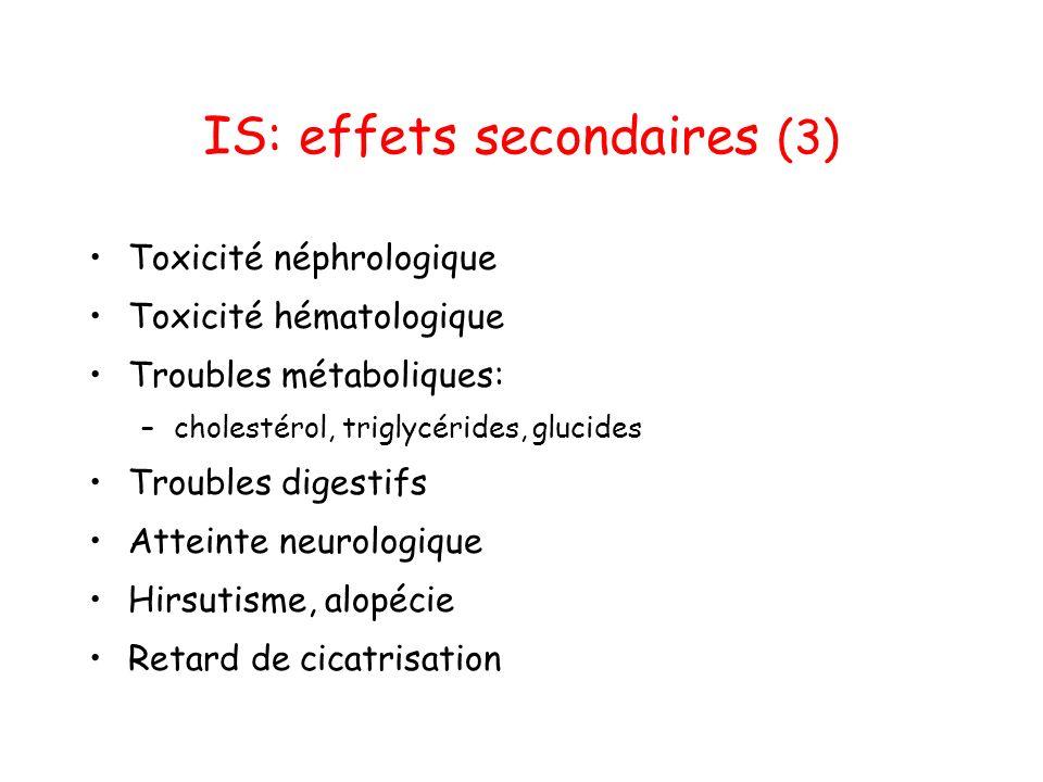 IS: effets secondaires (3) Toxicité néphrologique Toxicité hématologique Troubles métaboliques: –cholestérol, triglycérides, glucides Troubles digestifs Atteinte neurologique Hirsutisme, alopécie Retard de cicatrisation