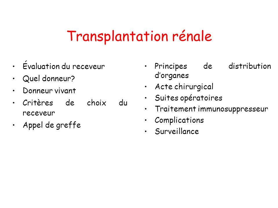 Evaluation en vue dune TX (1) Hématologie: –Groupe sanguin –Carte didentité tissulaire: groupage HLA –Anticorps anti-HLA –Sérologies virales, parasitaires