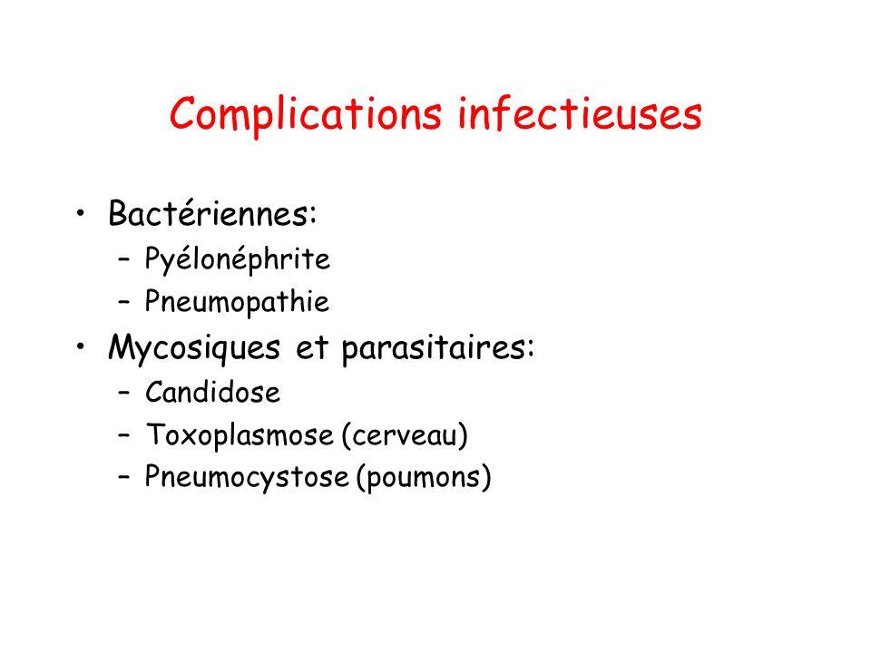 Complications infectieuses Bactériennes: –Pyélonéphrite –Pneumopathie Mycosiques et parasitaires: –Candidose –Toxoplasmose (cerveau) –Pneumocystose (poumons)