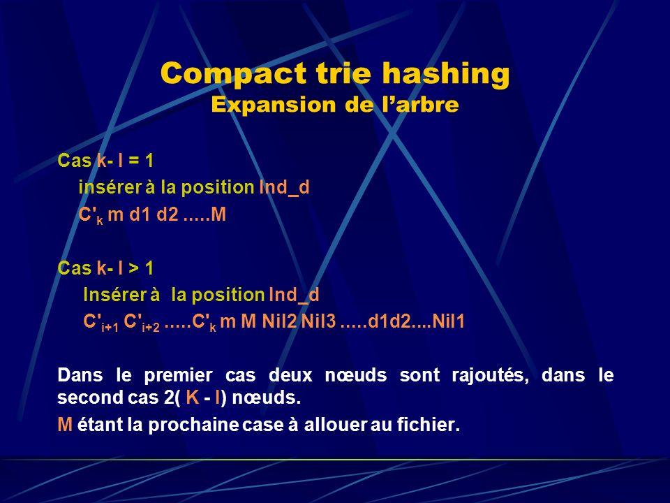 Compact trie hashing Expansion de larbre Cas k- I = 1 insérer à la position Ind_d C k m d1 d2.....M Cas k- I > 1 Insérer à la position Ind_d C i+1 C i+2.....C k m M Nil2 Nil3.....d1d2....Nil1 Dans le premier cas deux nœuds sont rajoutés, dans le second cas 2( K - I) nœuds.
