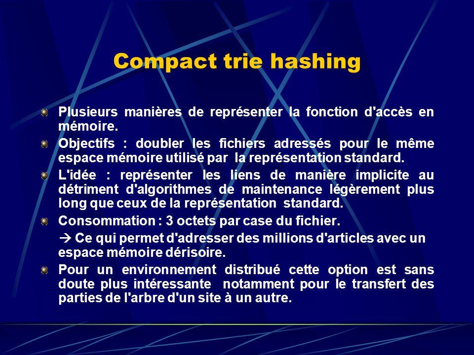 Compact trie hashing Recherche Init( P ) ; I := 1; Trouv := Faux Tq Non Trouv : Si Interne(Arbre[ I ]) Empiler(P, ( Arbre[ I ], I ) ) I := I + 1 Sinon Si C <= ( P ) Trouv := Vrai Sinon Depiler(P, (V, J) ) I := I + 1 Fsi Ftq