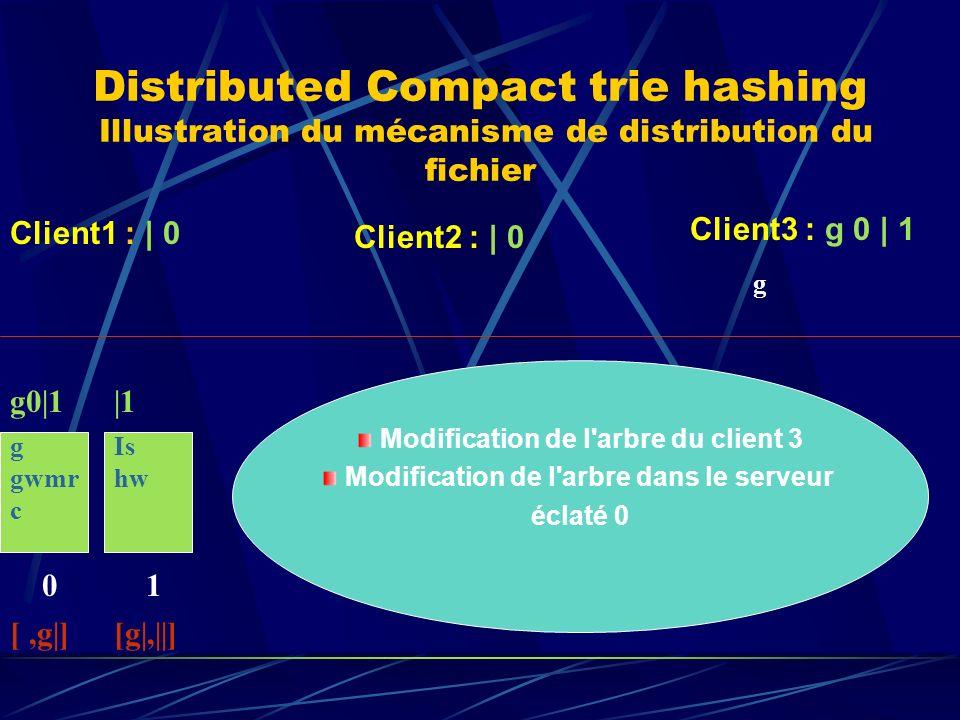 Distributed Compact trie hashing Illustration du mécanisme de distribution du fichier g gwmr c 0 g0|1 [,g|] Client1 : | 0 Client2 : | 0 Client3 : g 0 | 1 g Is hw 1 |1 [g|,||] Modification de l arbre du client 3 Modification de l arbre dans le serveur éclaté 0