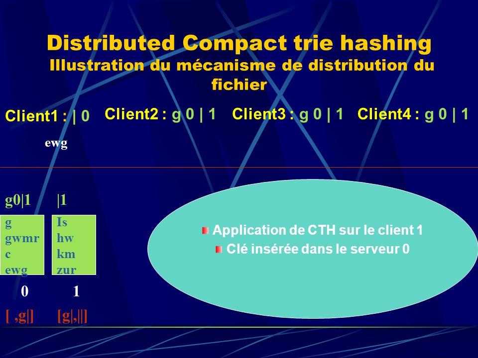 Distributed Compact trie hashing Illustration du mécanisme de distribution du fichier g gwmr c ewg 0 g0|1 [,g|] Client1 : | 0 Client2 : g 0 | 1Client3 : g 0 | 1 ewg Is hw km zur 1 |1 [g|,||] Client4 : g 0 | 1 Application de CTH sur le client 1 Clé insérée dans le serveur 0