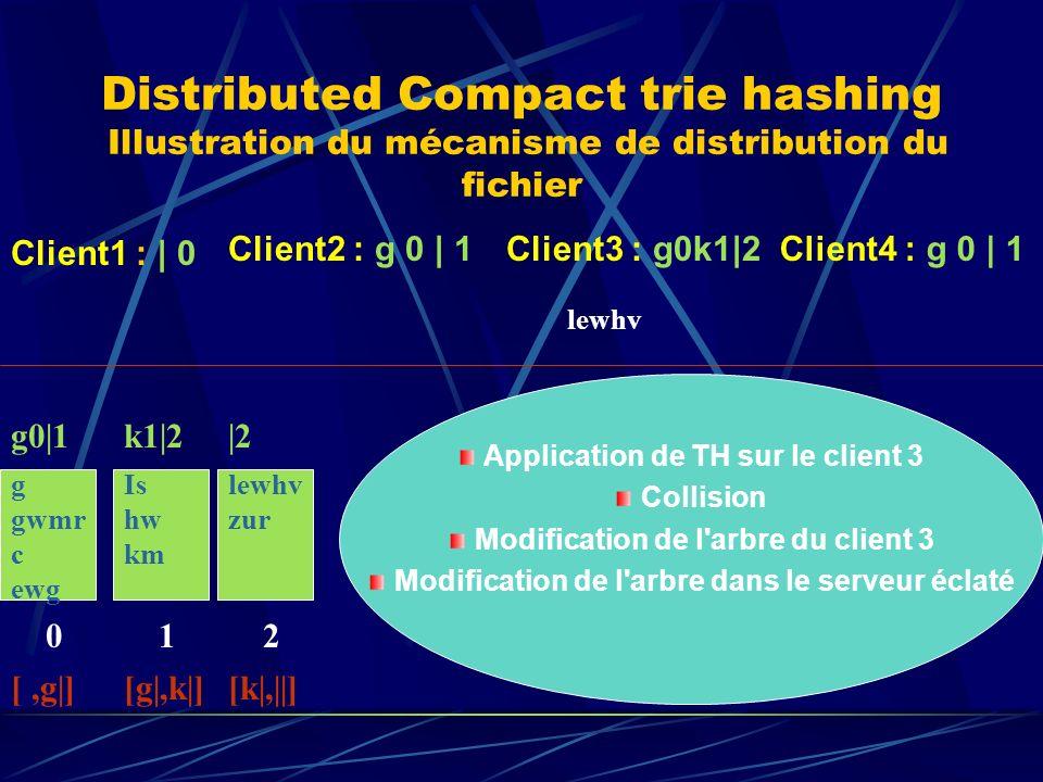 Distributed Compact trie hashing Illustration du mécanisme de distribution du fichier g gwmr c ewg 0 g0|1 [,g|] Client1 : | 0 Client2 : g 0 | 1Client3