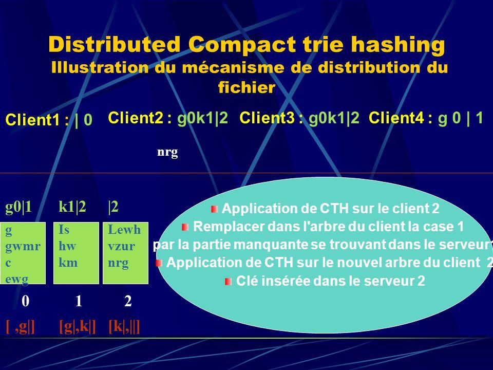 Distributed Compact trie hashing Illustration du mécanisme de distribution du fichier g gwmr c ewg 0 g0|1 [,g|] Client1 : | 0 Client2 : g0k1|2Client3 : g0k1|2 nrg Is hw km 1 k1|2 [g|,k|] Client4 : g 0 | 1 Lewh vzur nrg 2 |2 [k|,||] Application de CTH sur le client 2 Remplacer dans l arbre du client la case 1 par la partie manquante se trouvant dans le serveur1 Application de CTH sur le nouvel arbre du client 2 Clé insérée dans le serveur 2