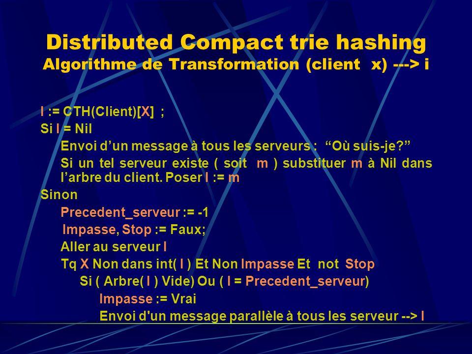 Distributed Compact trie hashing Algorithme de Transformation (client x) ---> i I := CTH(Client)[X] ; Si I = Nil Envoi dun message à tous les serveurs : Où suis-je.