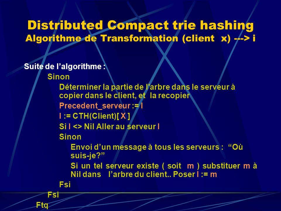 Distributed Compact trie hashing Algorithme de Transformation (client x) ---> i Suite de lalgorithme : Sinon Déterminer la partie de l arbre dans le serveur à copier dans le client, et la recopier Precedent_serveur := I I := CTH(Client)[ X ] Si I <> Nil Aller au serveur I Sinon Envoi dun message à tous les serveurs : Où suis-je.